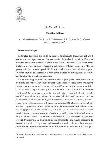 Fonetica italiana - Laboratorio di Linguistica - Scuola Normale ...