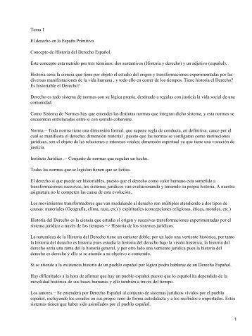 Tema 1 El derecho en la España Primitiva Concepto de Historia del ...