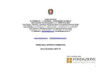 PIANO DELL'OFFERTA FORMATIVA Anno Scolastico 2012-13