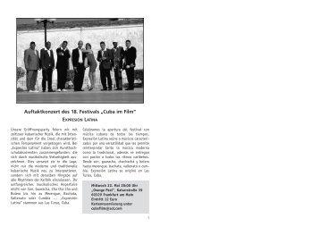 """Auftaktkonzert des 18. Festivals """"Cuba im Film"""" - vhs Frankfurt ..."""
