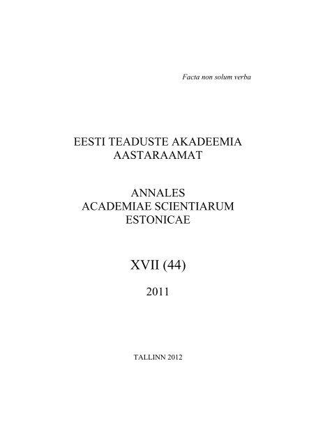 674a6c61437 ISSN 1406-149x - Eesti Teaduste Akadeemia