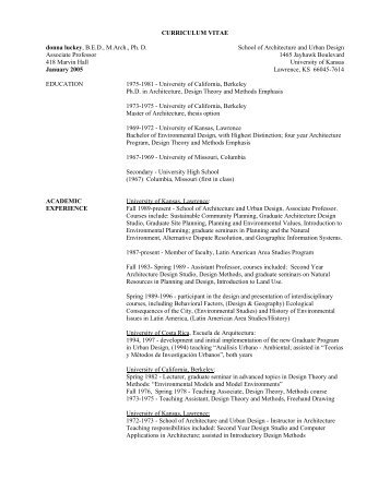 CURRICULUM VITAE donna luckey, BED, M.Arch., Ph. D. School of ...