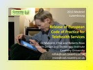 Release of European Code of Practice for Telehealth Services