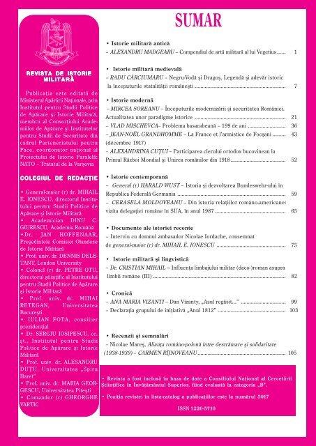 Publicaţia este editată de Ministerul Apărării Naţionale