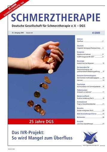 Zeitschrift Schmerztherapie 4 / 2009 - Schmerz Therapie Deutsche ...
