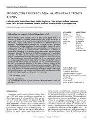 Epidemiologia e prognosi della malattia renale cronica in Italia