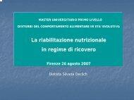 EVOLUTIVA La riabilitazione nutrizionale in regime di ricovero ...