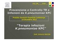 """""""Terapia infezioni K.pneumoniae KPC"""" - Cottolengo"""