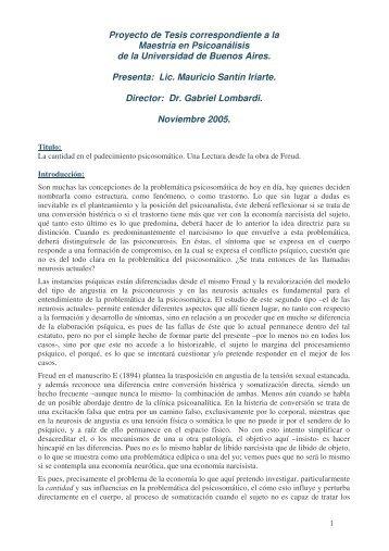 Proyecto de Tesis correspondiente a la Maestría en Psicoanálisis de ...