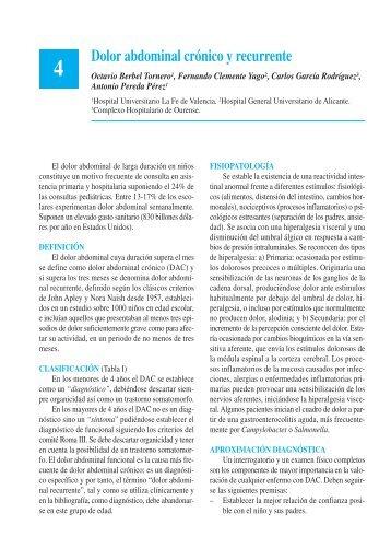 Dolor abdominal crónico y recurrente - Asociación Española de ...