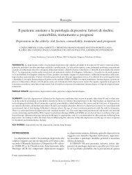 Il paziente anziano e la patologia depressiva: fattori di rischio ...