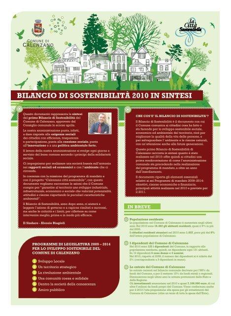 Bilancio di sostenibilità in sintesi - Comune di Calenzano