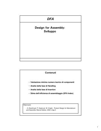 Design for manufacturing and assembly dfma liuc for Dfma template