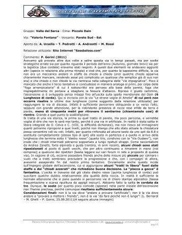 Gruppo: Valle del Sarca - Cima: Piccolo Dain Via ... - Il Monodito