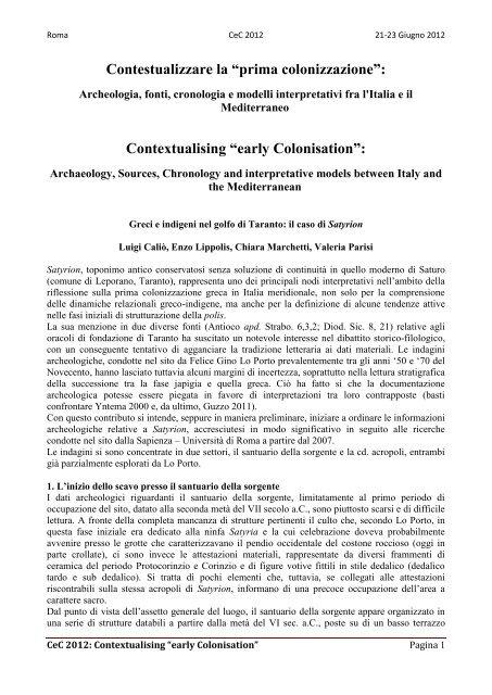 L. M. Caliò, E. Lippolis, V. Parisi, C. M. Marchetti - Academia Belgica