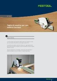 Taglio di canaline per cavi elettrici (acciaio) - Festool