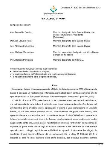 Decisione N. 3063 del 24 settembre 2012 - Arbitro Bancario ...