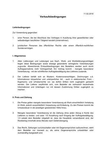 Allgemeine Verkaufsbedingungen - Schneider-Apparatebau GmbH