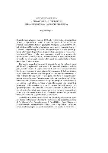 A proposito della formazione dell'autocoscienza ... - Europa Orientalis