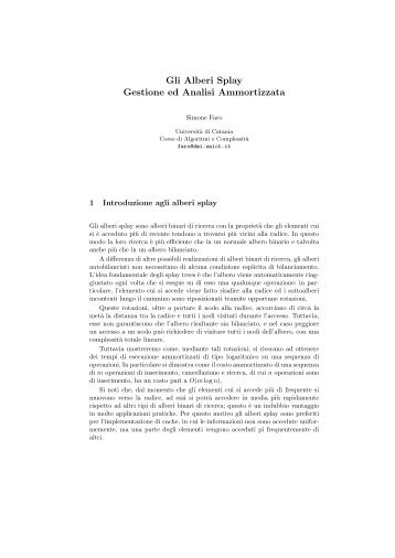 Gli Alberi Splay Gestione ed Analisi Ammortizzata - Mbox.dmi.unict.it