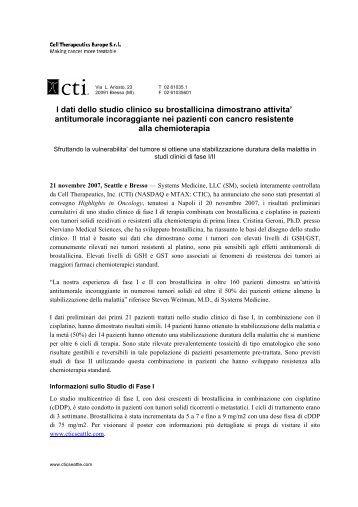 I dati dello studio clinico su brostallicina dimostrano ... - Euroborsa
