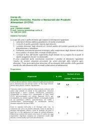 Analisi Chimiche, Fisiche e Sensoriali dei Prodotti Alimentari (9 CFU)
