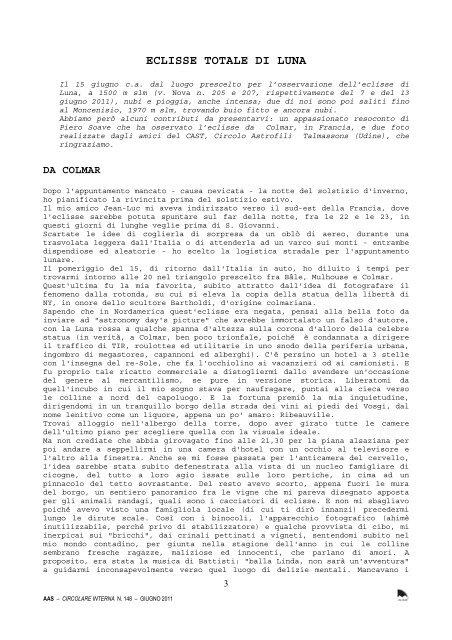 aas ci 148 giugno 2011.pdf - Circolo AStrofili Talmassons