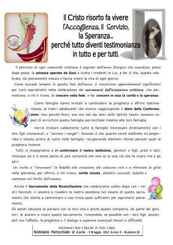 Visualizza gli avvisi.pdf - Parrocchia di S. Maria Madre della Chiesa ...