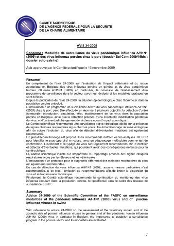 AVIS 34-2009 du comité scientifique de l'AFSCA - Favv