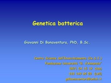 6a lezione genetica batterica.pdf - ch.unich - 'G. d'Annunzio'