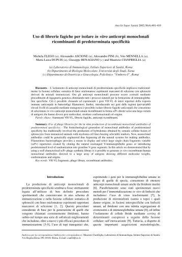 Uso di librerie fagiche per isolare in vitro anticorpi monoclonali
