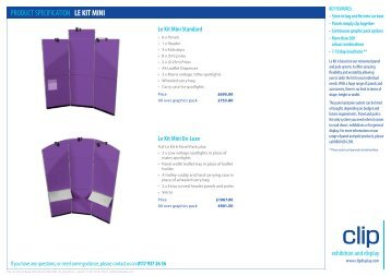 PRODUCT SPECIFICATION le Kit MINI - Clip Display