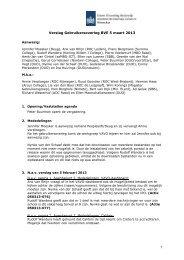 1 Verslag Gebruikersoverleg BVE 5 maart 2013