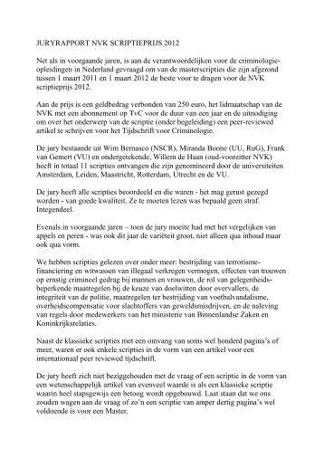 JURYRAPPORT NVK SCRIPTIEPRIJS 2012 Net als in voorgaande ...
