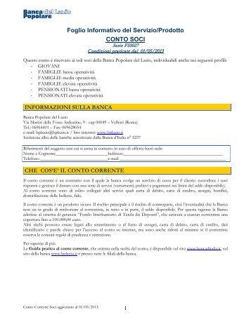Foglio Informativo Conto Soci - Banca Popolare del Lazio