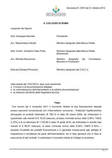 Decisione N. 3574 del 31 ottobre 2012 - Arbitro Bancario Finanziario