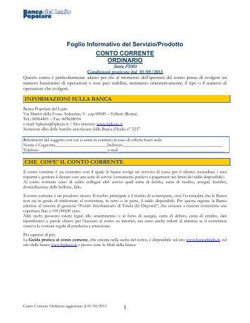 Foglio Informativo Conto Corr. Corrispondenza - Banca Popolare ...