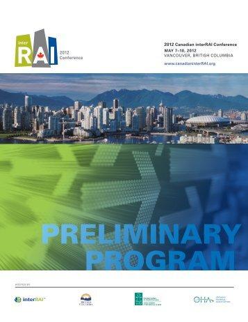 PRELIMINARY PROGRAM - Canadian interRAI Conference