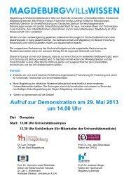 Aufruf zur Demonstration am 29. Mai 2013 um 14.00 Uhr