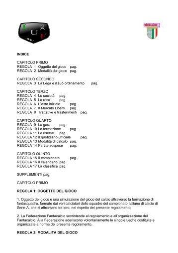 INDICE CAPITOLO PRIMO REGOLA 1 Oggetto del gioco ... - Webs