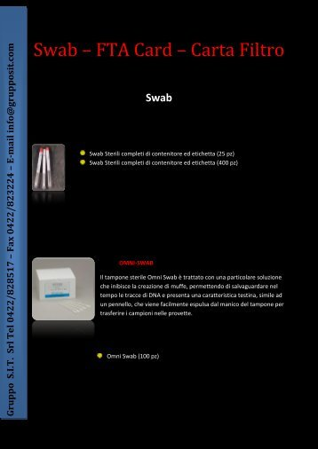 Swab – FTA Card – Carta Filtro - Impronte Digitali