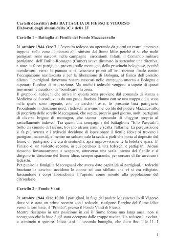 Cartelli descrittivi della BATTAGLIA DI FIESSO ... - Comune di Budrio