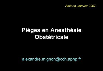 Pièges en Anesthésie Obstétricale - Desarpic.fr