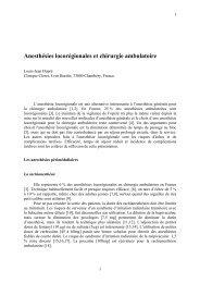 Anesthésies locorégionales et chirurgie ambulatoire - Reagso.com