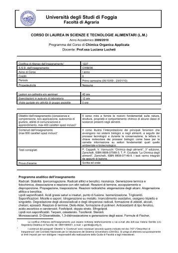 Chimica Organica Applicata - Facoltà di Agraria - Università degli ...