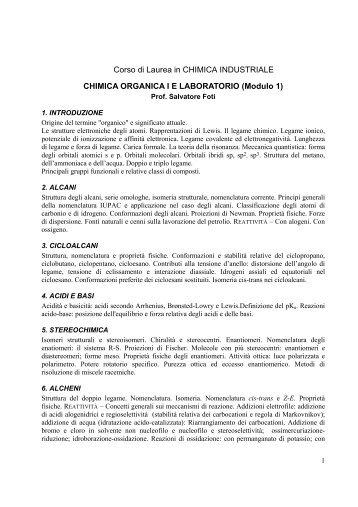 Chimica Organica I e Laboratorio Mod.1