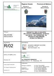 Regione Veneto Provincia di Belluno RELAZIONE GEOLOGICA