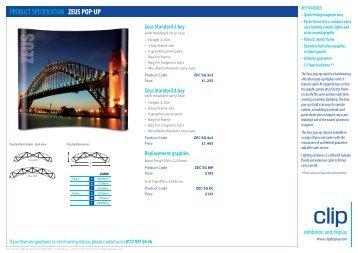 PRODUCT SPECIFICATION Zeus pop-up - Clip Display