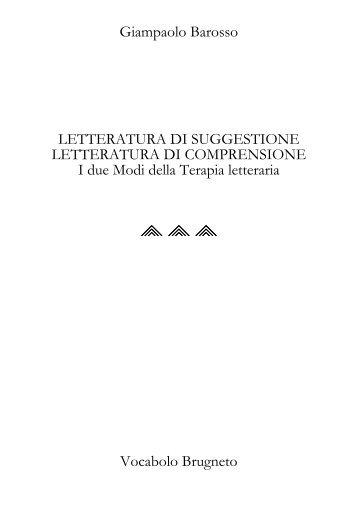 Giampaolo Barosso LETTERATURA DI SUGGESTIONE ...