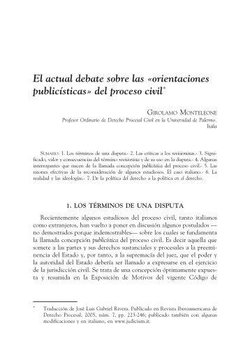 orientaciones publicísticas» del proceso civil - EGACAL